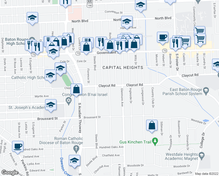map of restaurants, bars, coffee shops, grocery stores, and more near Richland Avenue in Baton Rouge