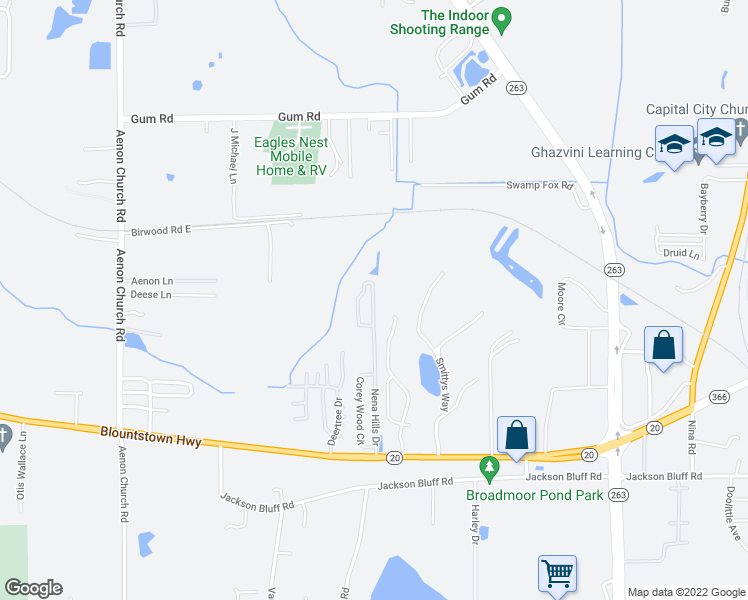 map of restaurants, bars, coffee shops, grocery stores, and more near 1813 Nena Hills Drive in Tallahassee