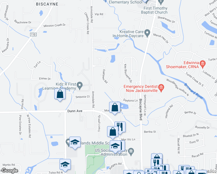 map of restaurants, bars, coffee shops, grocery stores, and more near 11444 Oak Lawn Road in Jacksonville