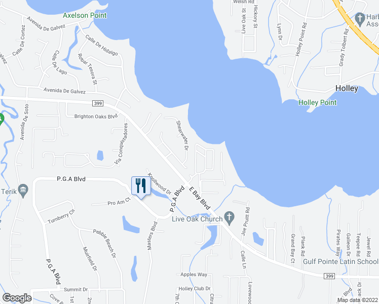 map of restaurants, bars, coffee shops, grocery stores, and more near 2942 Shearwater Drive in Navarre