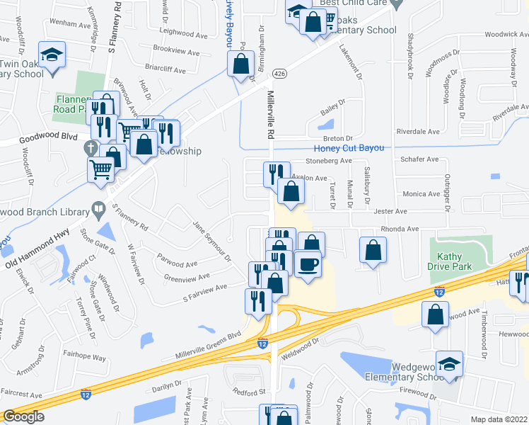 map of restaurants, bars, coffee shops, grocery stores, and more near 8555 South Flannery Road in Baton Rouge