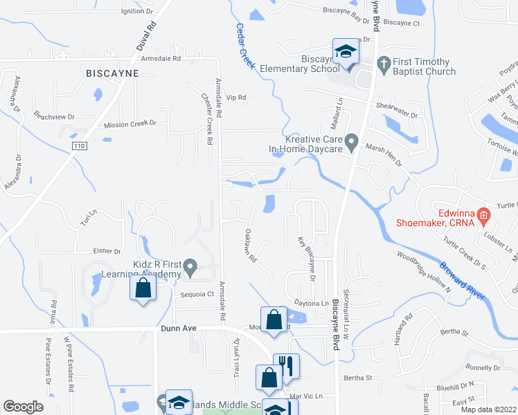 map of restaurants, bars, coffee shops, grocery stores, and more near 11577 Oak Lawn Road in Jacksonville