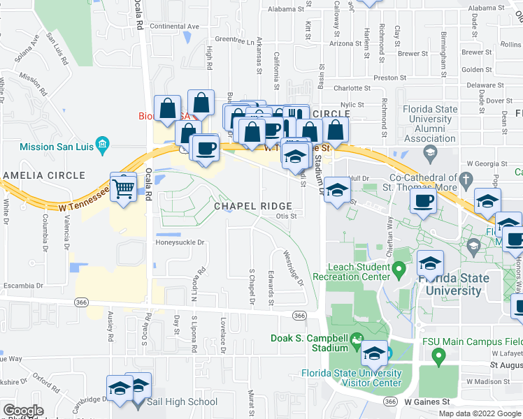 map of restaurants, bars, coffee shops, grocery stores, and more near 415 Chapel Drive in Tallahassee