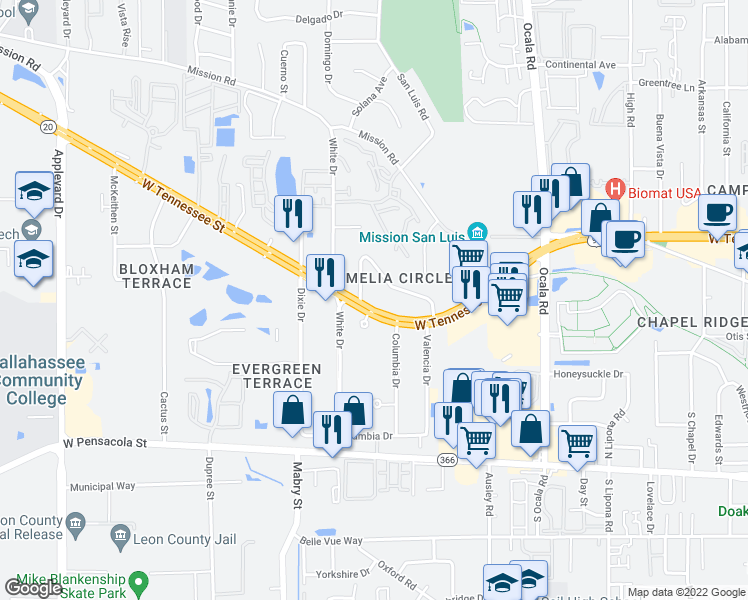 map of restaurants, bars, coffee shops, grocery stores, and more near 2310 West Tennessee Street in Tallahassee