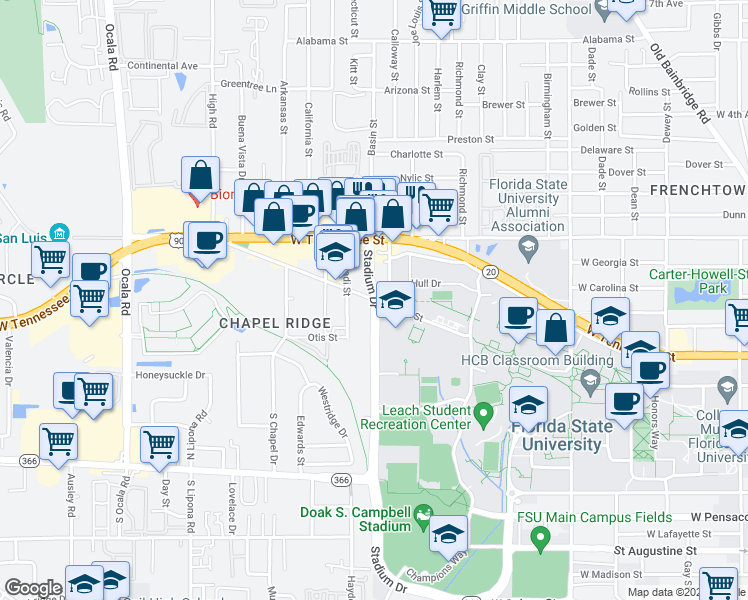 map of restaurants, bars, coffee shops, grocery stores, and more near Stadium Drive & West Call Street in Tallahassee