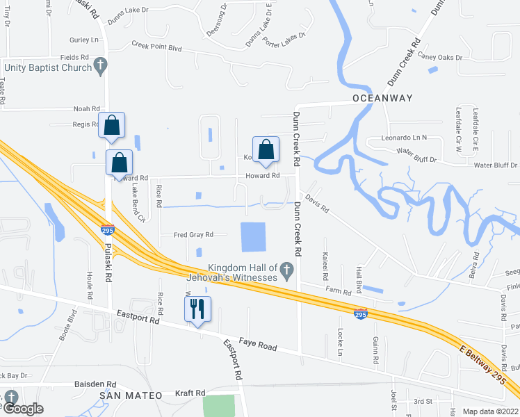 map of restaurants, bars, coffee shops, grocery stores, and more near 11591 Hickory Oak Drive in Jacksonville