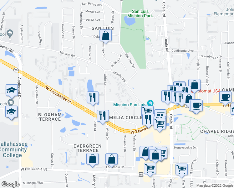 map of restaurants, bars, coffee shops, grocery stores, and more near 785 Timberway Court in Tallahassee