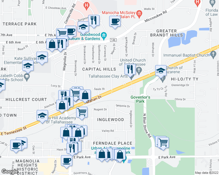map of restaurants, bars, coffee shops, grocery stores, and more near 924 Marys Drive in Tallahassee
