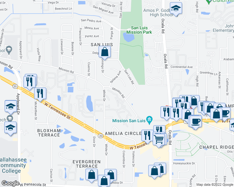 map of restaurants, bars, coffee shops, grocery stores, and more near 2309 Green Timbers Trail in Tallahassee