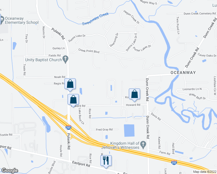 map of restaurants, bars, coffee shops, grocery stores, and more near 11917 Hayden Lakes Circle in Jacksonville
