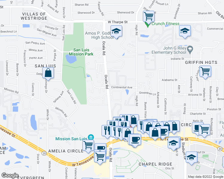 map of restaurants, bars, coffee shops, grocery stores, and more near 2087 Continental Avenue in Tallahassee