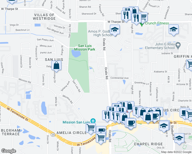 map of restaurants, bars, coffee shops, grocery stores, and more near 2310 Continental Avenue in Tallahassee