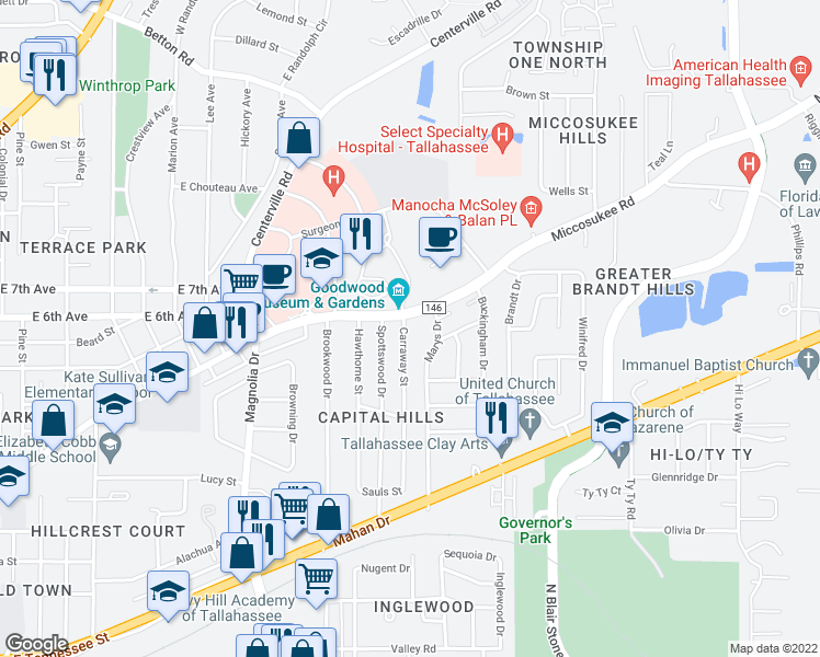 map of restaurants, bars, coffee shops, grocery stores, and more near 1213 Carraway Street in Tallahassee