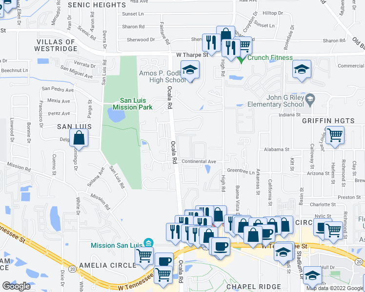 map of restaurants, bars, coffee shops, grocery stores, and more near 2060 Continental Avenue in Tallahassee