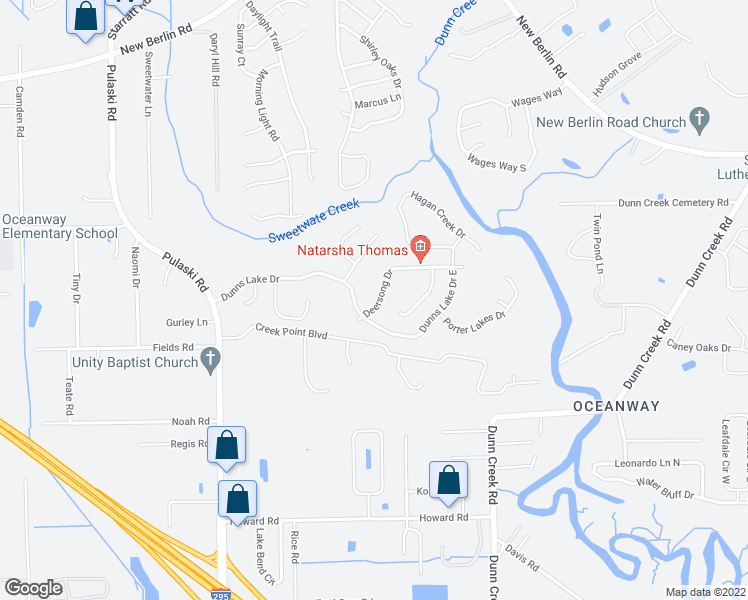 map of restaurants, bars, coffee shops, grocery stores, and more near 12258 Deersong Drive in Jacksonville