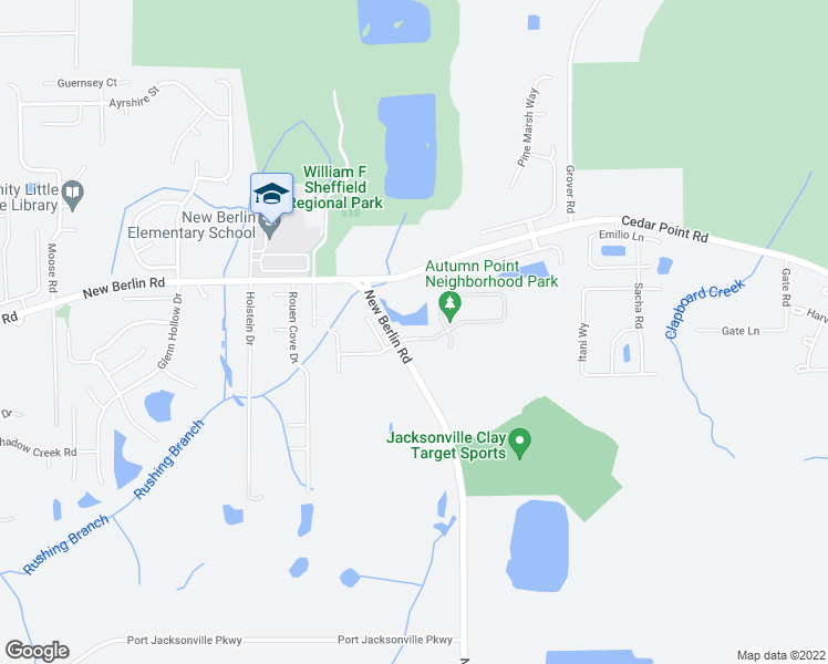 map of restaurants, bars, coffee shops, grocery stores, and more near 3781 Ringneck Drive in Jacksonville