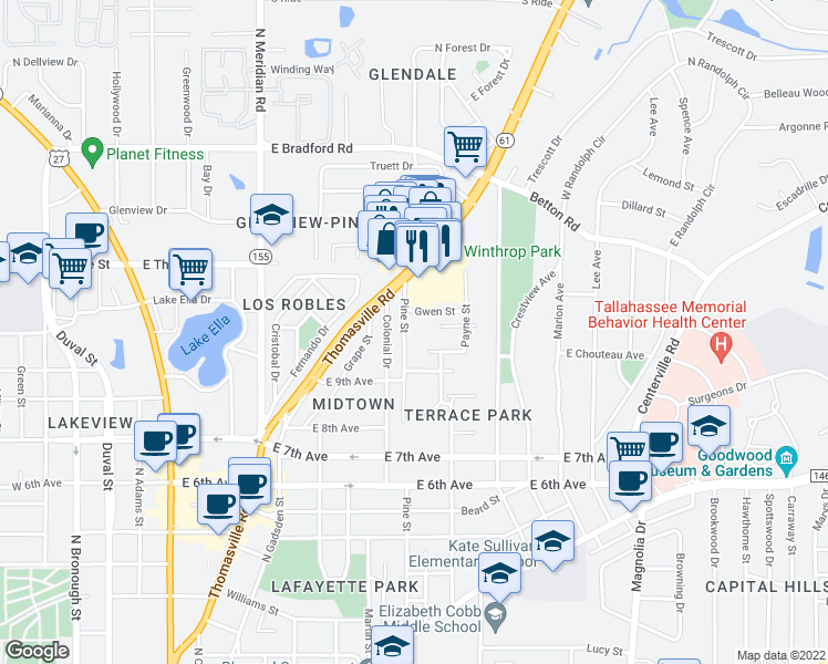 map of restaurants, bars, coffee shops, grocery stores, and more near 1535 Pine Street in Tallahassee