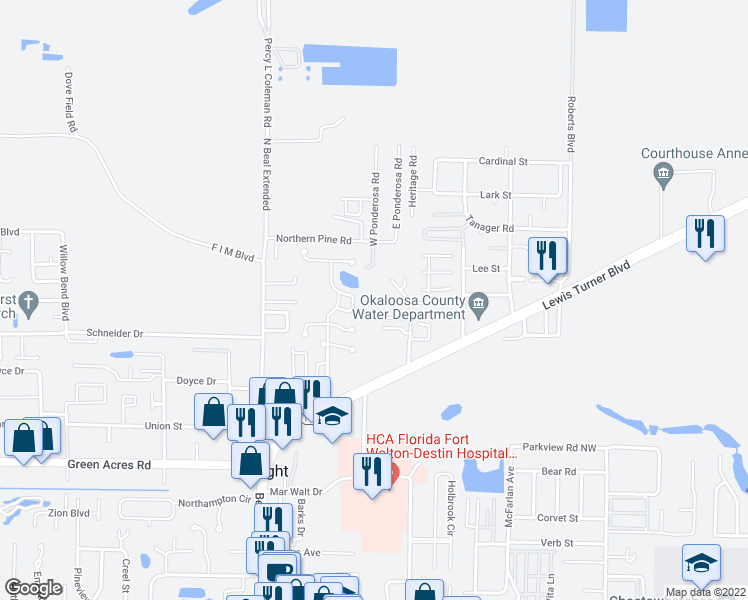 map of restaurants, bars, coffee shops, grocery stores, and more near 1197 Witshire Court in Fort Walton Beach