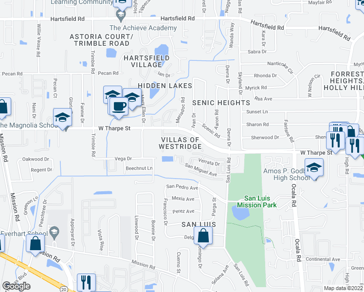 map of restaurants, bars, coffee shops, grocery stores, and more near 2550 San Miguel Avenue in Tallahassee