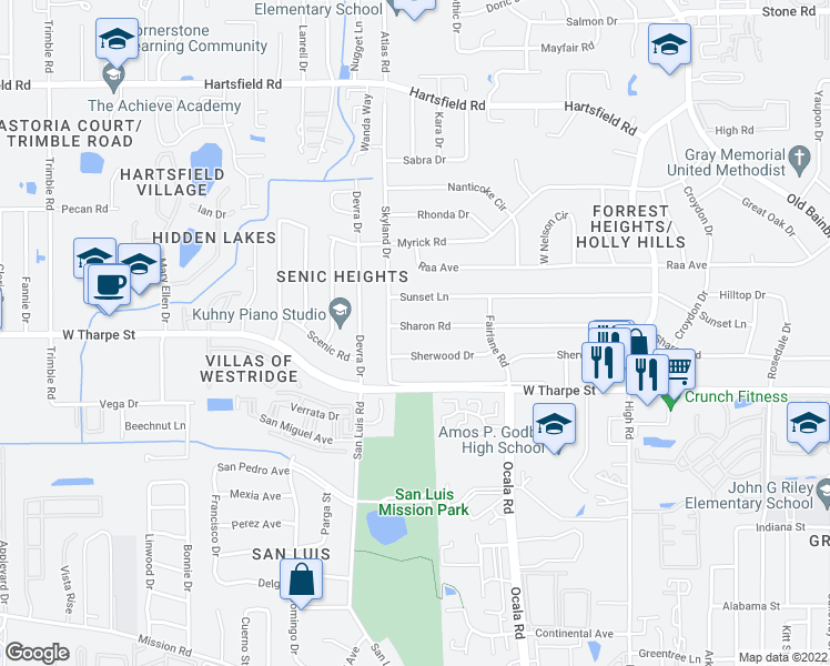 map of restaurants, bars, coffee shops, grocery stores, and more near 1917 Sharon Road in Tallahassee