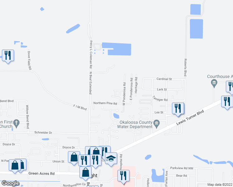map of restaurants, bars, coffee shops, grocery stores, and more near 1240 Sharif Drive in Fort Walton Beach