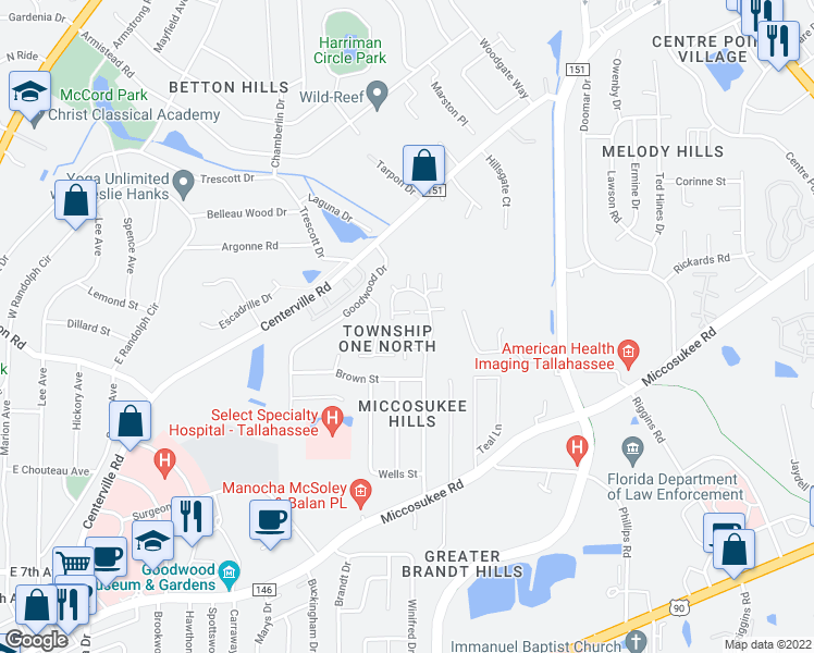 map of restaurants, bars, coffee shops, grocery stores, and more near 1567 Garden Park Lane in Tallahassee
