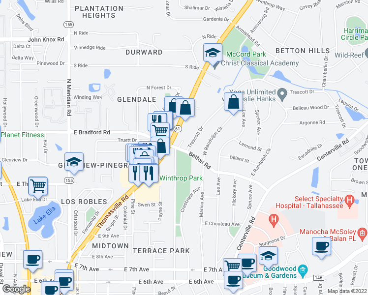 map of restaurants, bars, coffee shops, grocery stores, and more near 2002 Trescott Drive in Tallahassee