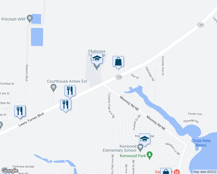map of restaurants, bars, coffee shops, grocery stores, and more near 711 Country Club Avenue Northeast in Fort Walton Beach