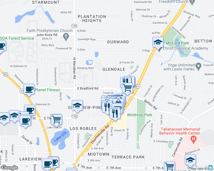 map of restaurants, bars, coffee shops, grocery stores, and more near 2002 Forest Glen Court in Tallahassee
