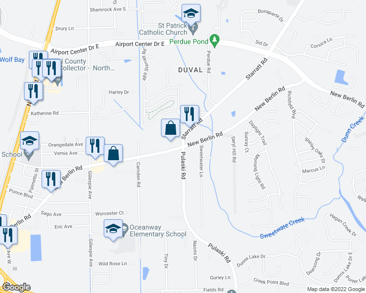 map of restaurants, bars, coffee shops, grocery stores, and more near New Berlin Road & Starratt Road in Jacksonville