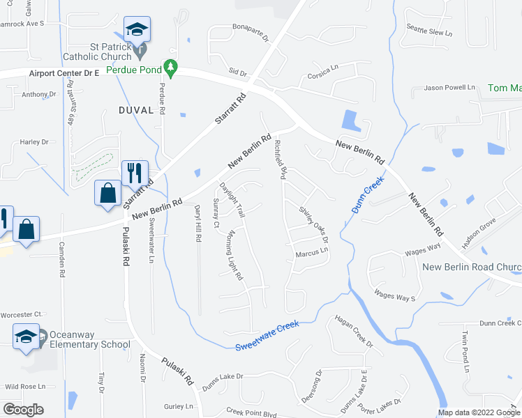 map of restaurants, bars, coffee shops, grocery stores, and more near 1236 Spring Creek Court in Jacksonville