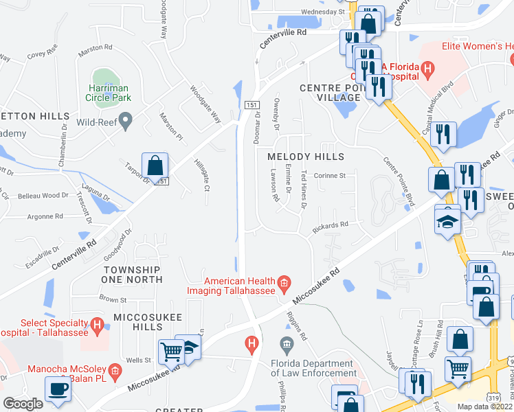 map of restaurants, bars, coffee shops, grocery stores, and more near Doomar Dr in Tallahassee