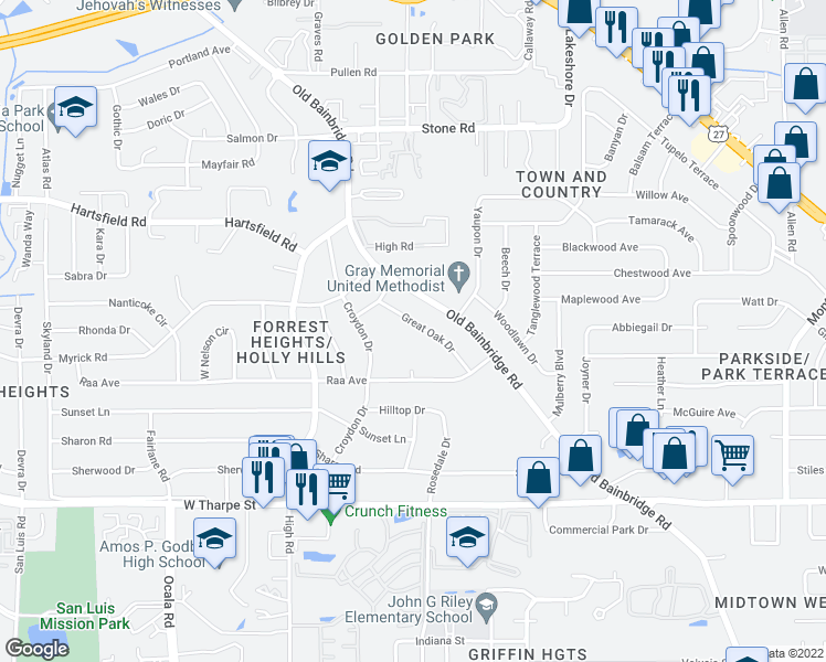 map of restaurants, bars, coffee shops, grocery stores, and more near 2112 Great Oak Drive in Tallahassee