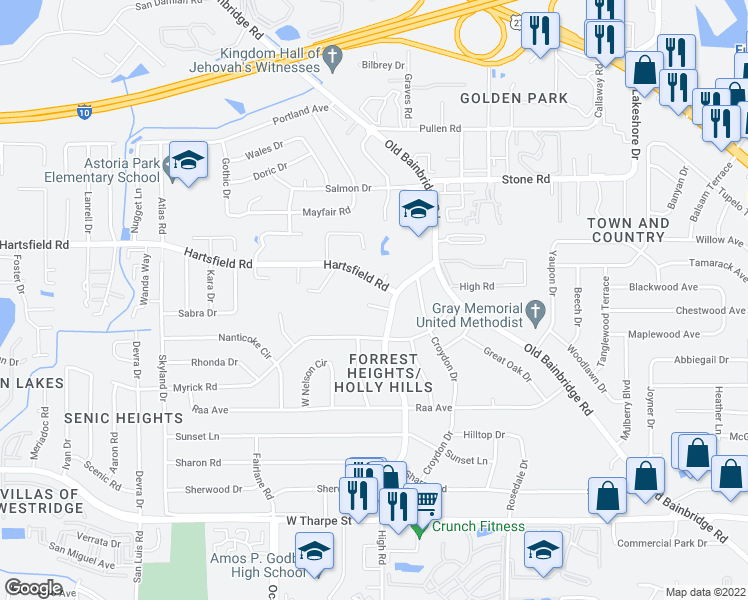 map of restaurants, bars, coffee shops, grocery stores, and more near 1706 Verina court in Tallahassee