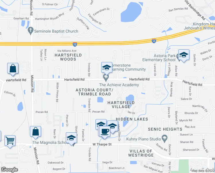 map of restaurants, bars, coffee shops, grocery stores, and more near 2519 Hartsfield Road in Tallahassee