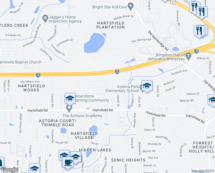 map of restaurants, bars, coffee shops, grocery stores, and more near 2206 Wabash Trail in Tallahassee