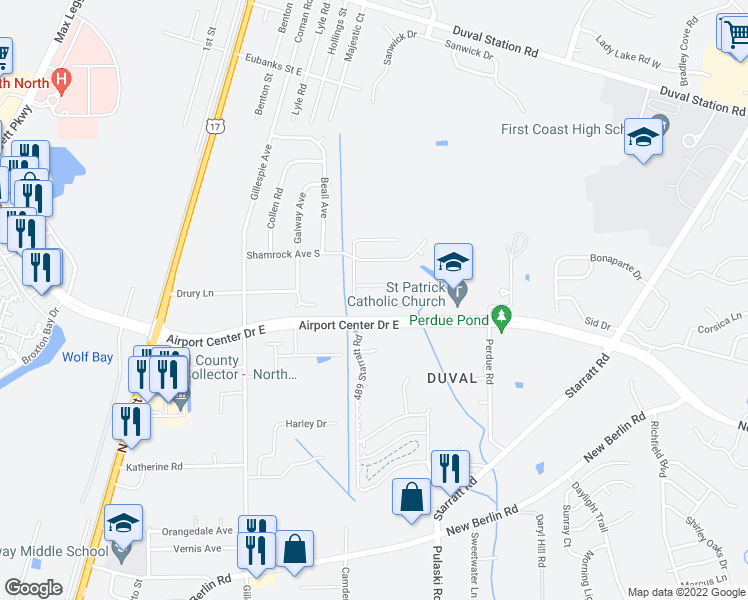 map of restaurants, bars, coffee shops, grocery stores, and more near 431 Moby Dick Drive South in Jacksonville