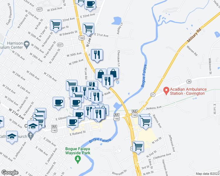 map of restaurants, bars, coffee shops, grocery stores, and more near 1038 Ronald Reagan Highway in Covington