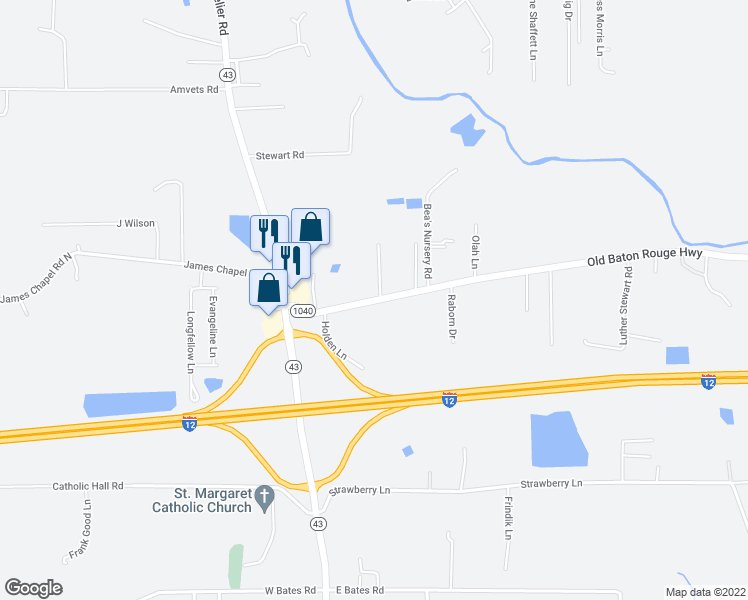 map of restaurants, bars, coffee shops, grocery stores, and more near 30300-30436 Old Baton Rouge Highway in Hammond