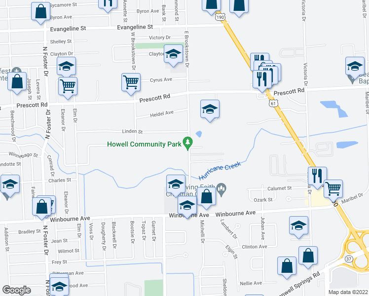 map of restaurants, bars, coffee shops, grocery stores, and more near 3700 East Brookstown Drive in Baton Rouge