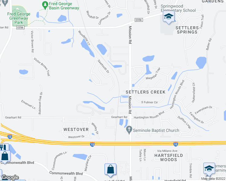 map of restaurants, bars, coffee shops, grocery stores, and more near 3117 Sawtooth Drive in Tallahassee
