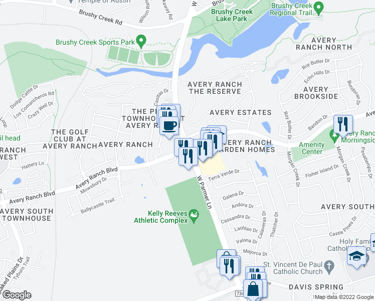 map of restaurants, bars, coffee shops, grocery stores, and more near W Parmer Ln & Avery Ranch Blvd in Austin