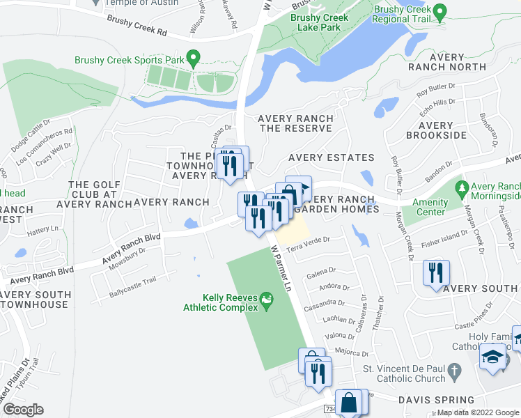 map of restaurants, bars, coffee shops, grocery stores, and more near West Parmer Lane & Avery Ranch Boulevard in Austin