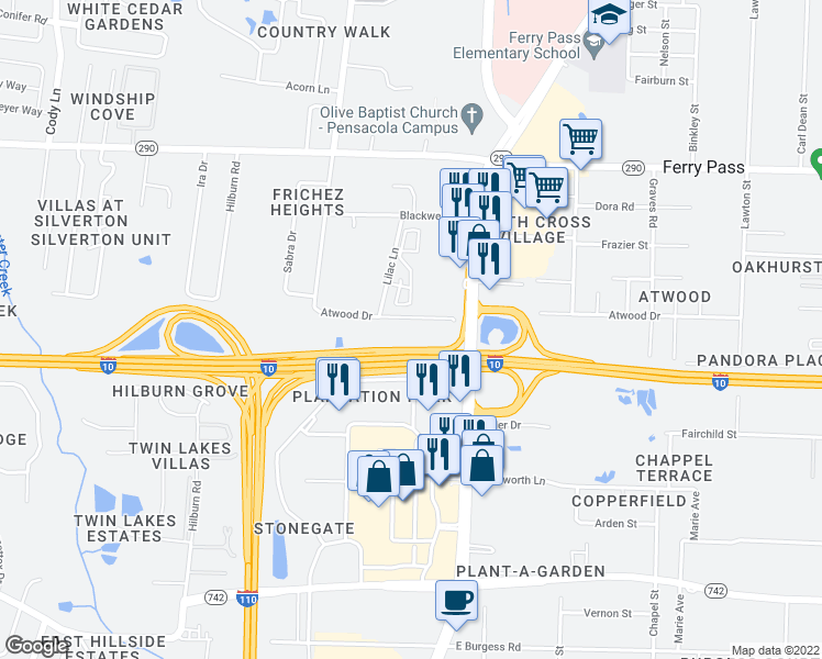 map of restaurants, bars, coffee shops, grocery stores, and more near 1857 Atwood Drive in Pensacola