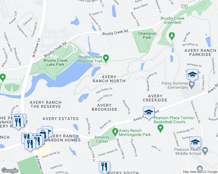 map of restaurants, bars, coffee shops, grocery stores, and more near 10716 Roy Butler Drive in Austin