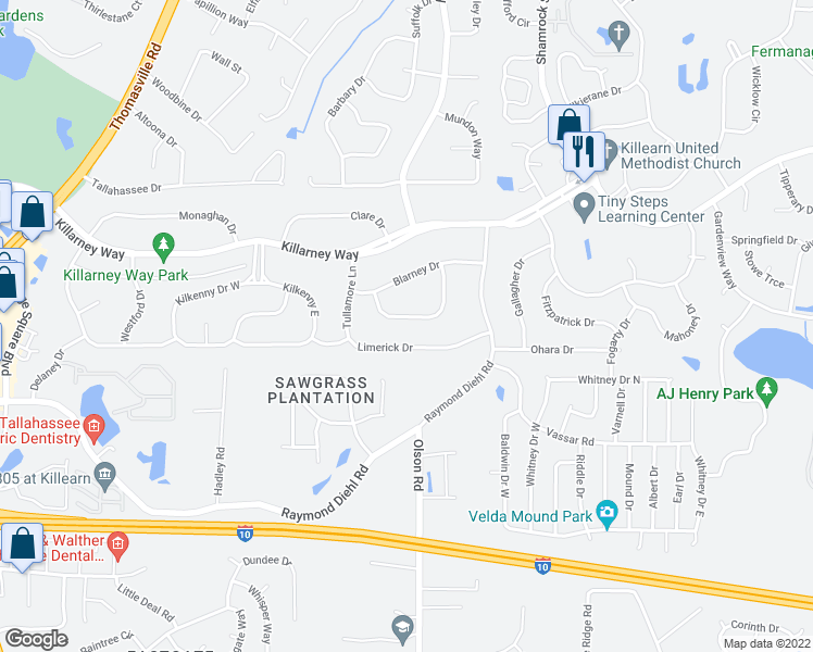 map of restaurants, bars, coffee shops, grocery stores, and more near 3433 Castlebar Circle in Tallahassee