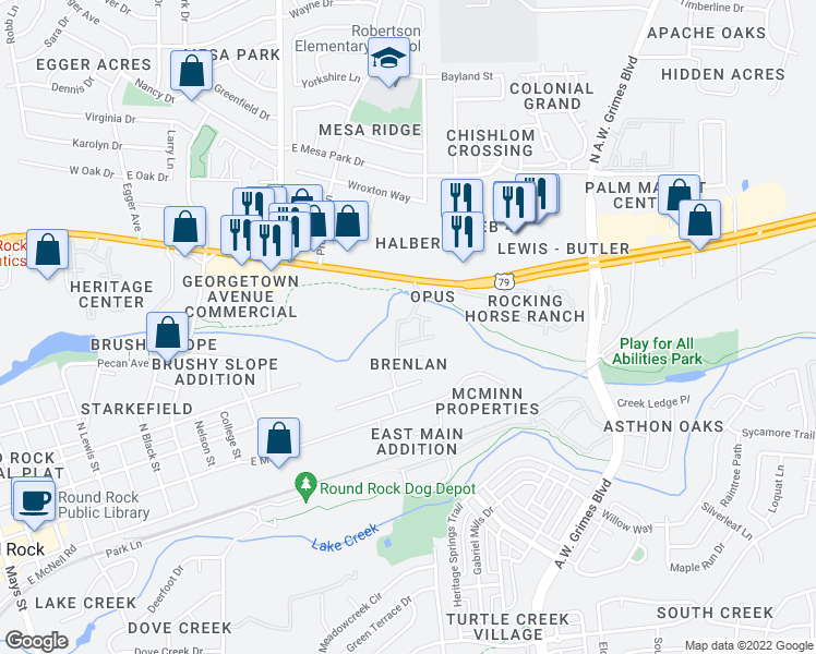 map of restaurants, bars, coffee shops, grocery stores, and more near 1525 Palm Valley Boulevard in Round Rock