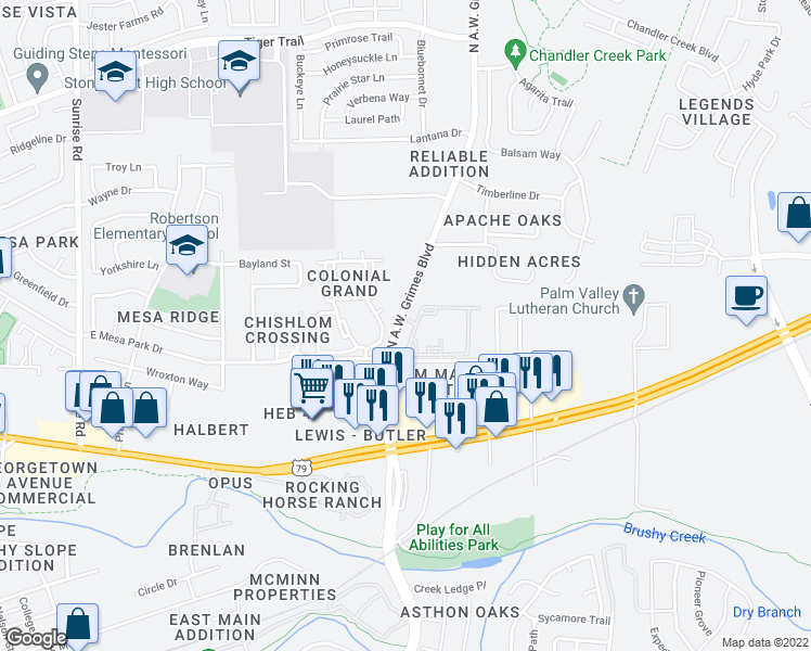 map of restaurants, bars, coffee shops, grocery stores, and more near 1301 North A W Grimes Boulevard in Round Rock