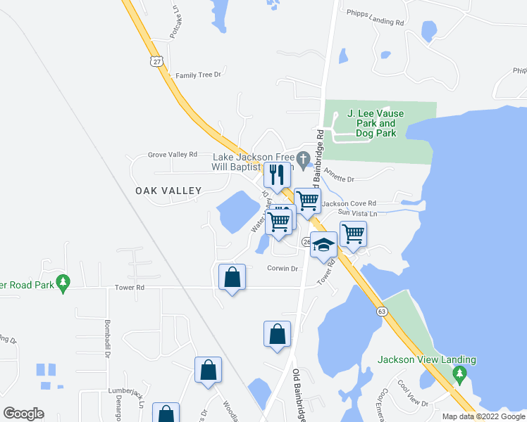 map of restaurants, bars, coffee shops, grocery stores, and more near 5237 Water Valley Drive in Tallahassee