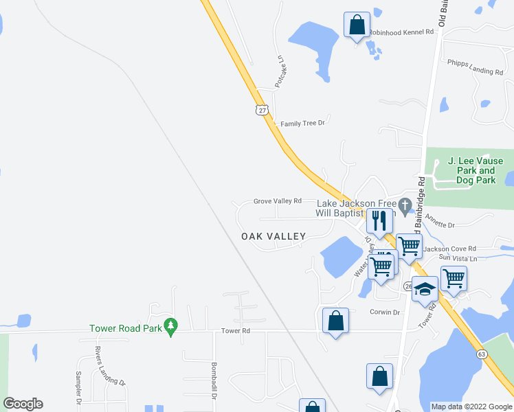 map of restaurants, bars, coffee shops, grocery stores, and more near 5421 Grove Valley Road in Tallahassee